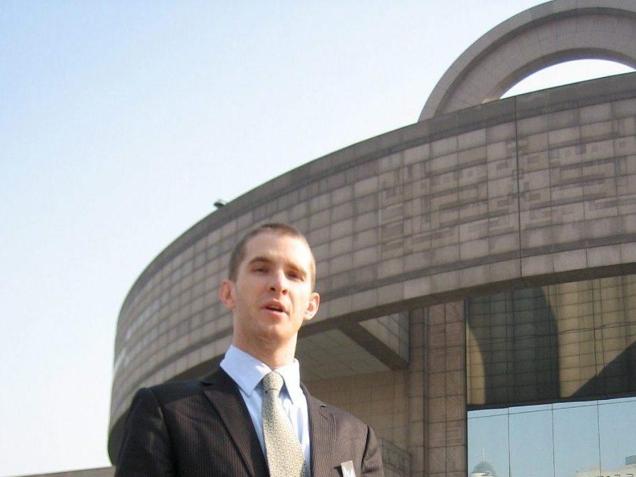 Daniel Newman outside the Shanghai Museum